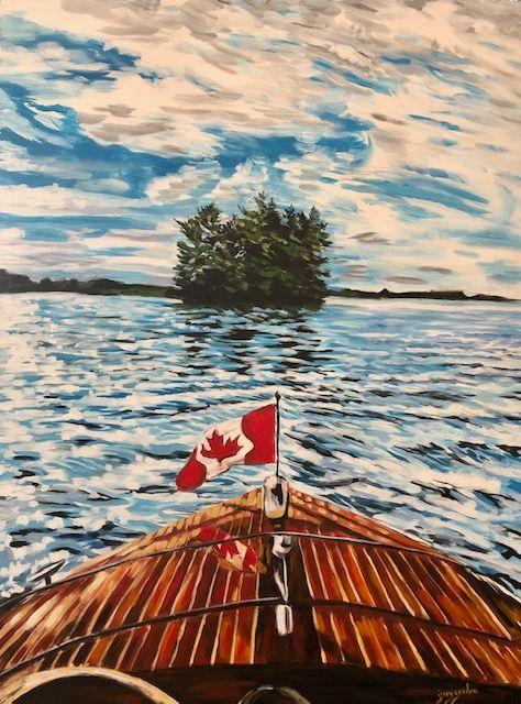 Painting by Jenny Gordon of a boat approaching Muskoka Island