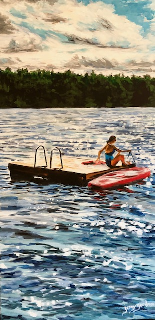 Painting by Jenny Gordon of a girl on a raft