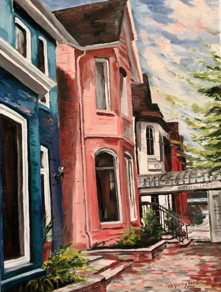 Painting by Jenny Gordon of houses on Hazelton Lanes in Toronto, Ontario