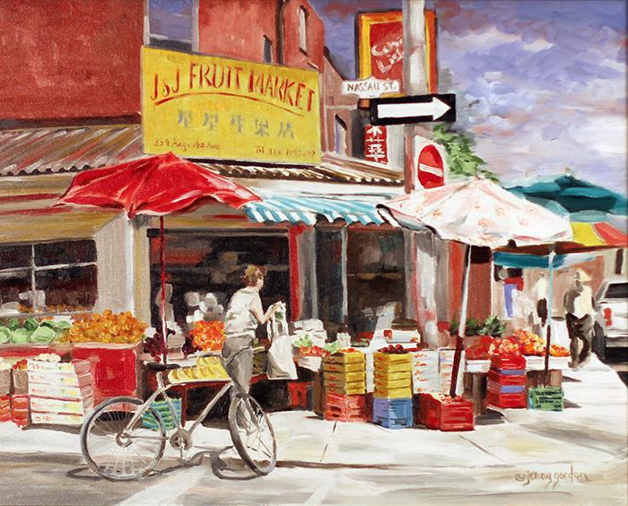 Painting of a fruit storefront in Kensington Market Toronto by Jenny Gordon