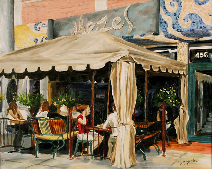 Painting of Mezes Restaurant Greek town Toronto by Jenny Gordon