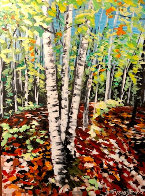 Painting by Jenny Gordon of birch trees in October