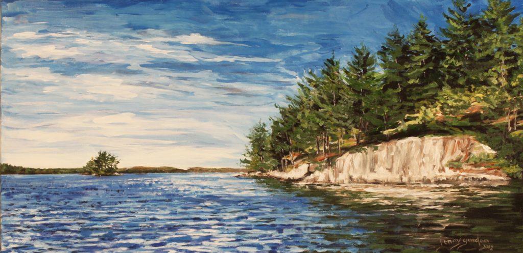 Painting by Jenny Gordon of a rockface shoreline on Chandos Lake