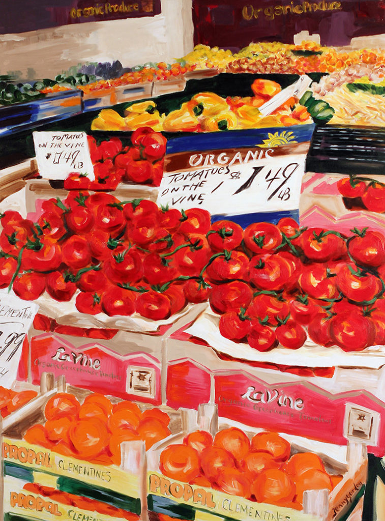 Painting of tomatoes at a store in St. Lawrence Market in Toronto, Ontario by Jenny Gordon