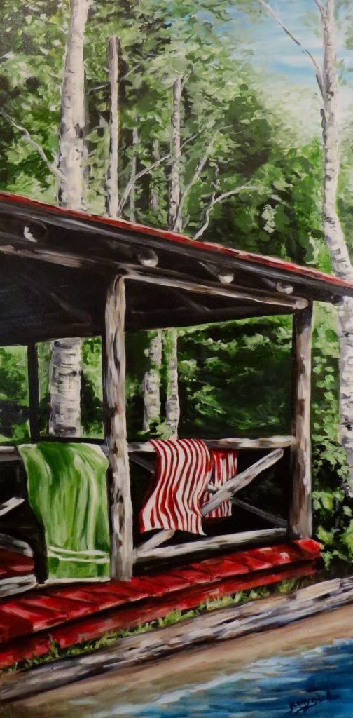 Painting by Jenny Gordon of a log porch and towels