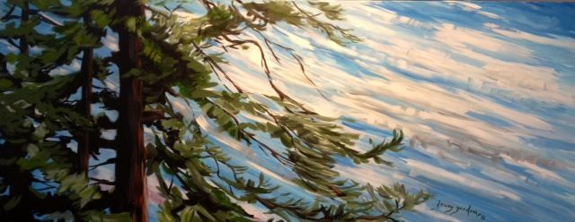 Painting by Jenny Gordon of Wind in the Pine Trees