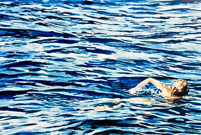 Painting by Jenny Gordon of a swim in the lake