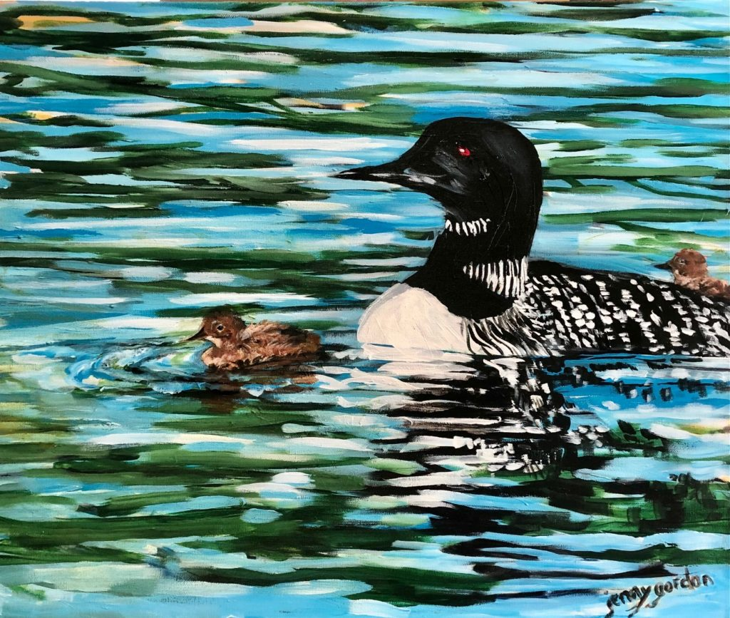 Painting of Mother Loon and babies by Jenny Gordon