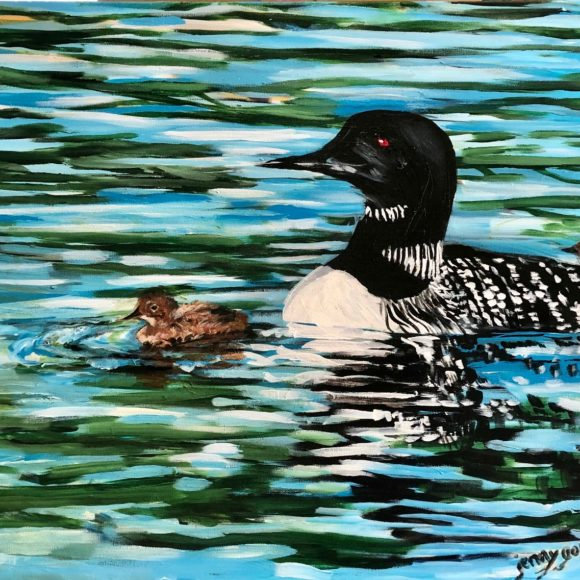 Mother Loon and Babies