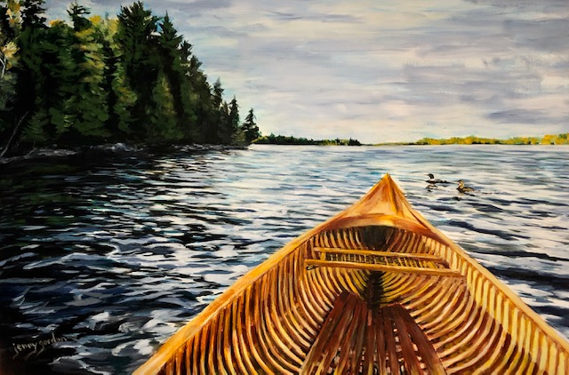 Painting of paddling with the loons by Jenny Gordon