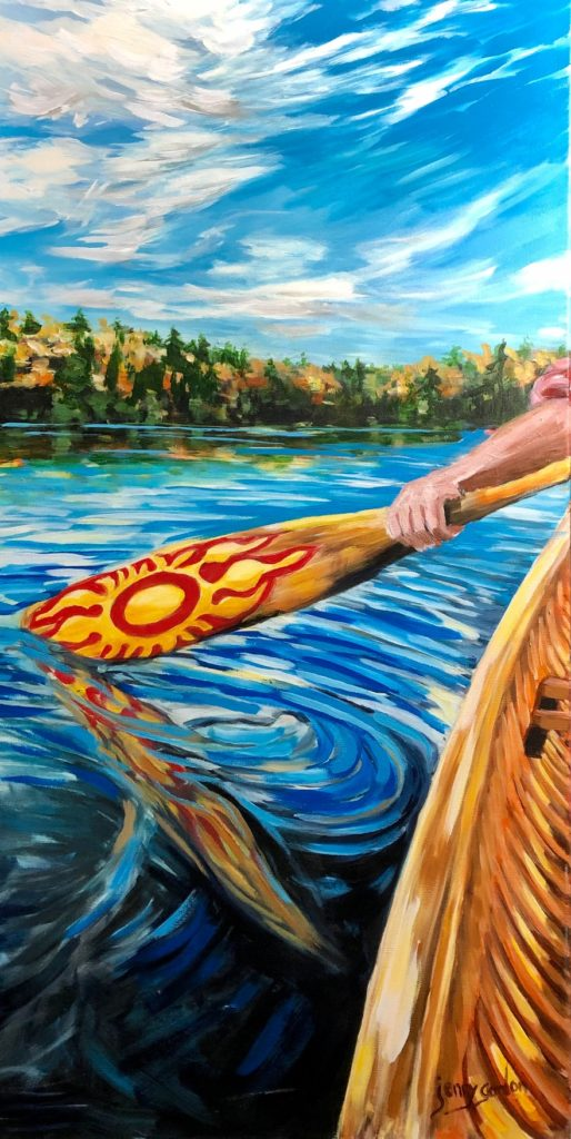 Painting of paddling in a canoe by Jenny Gordon