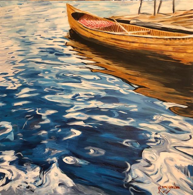 Painting of a Portrait of the Old Cedar Strip Canoe by Jenny Gordon
