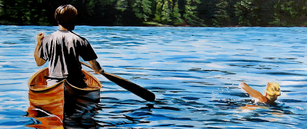 Painting by Jenny Gordon of a girl swimming across the lake and a man paddling in a canoe