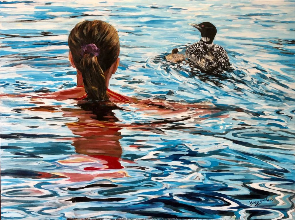 Painting of swimming with the loons by Jenny Gordon