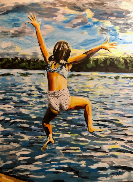 Painting by Jenny Gordon of a girl leaping into the water