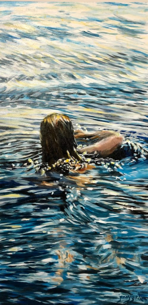 Painting by Jenny Gordon of an evening swimmer