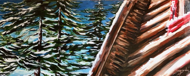 Painting of winter at the log cabin by Jenny Gordon